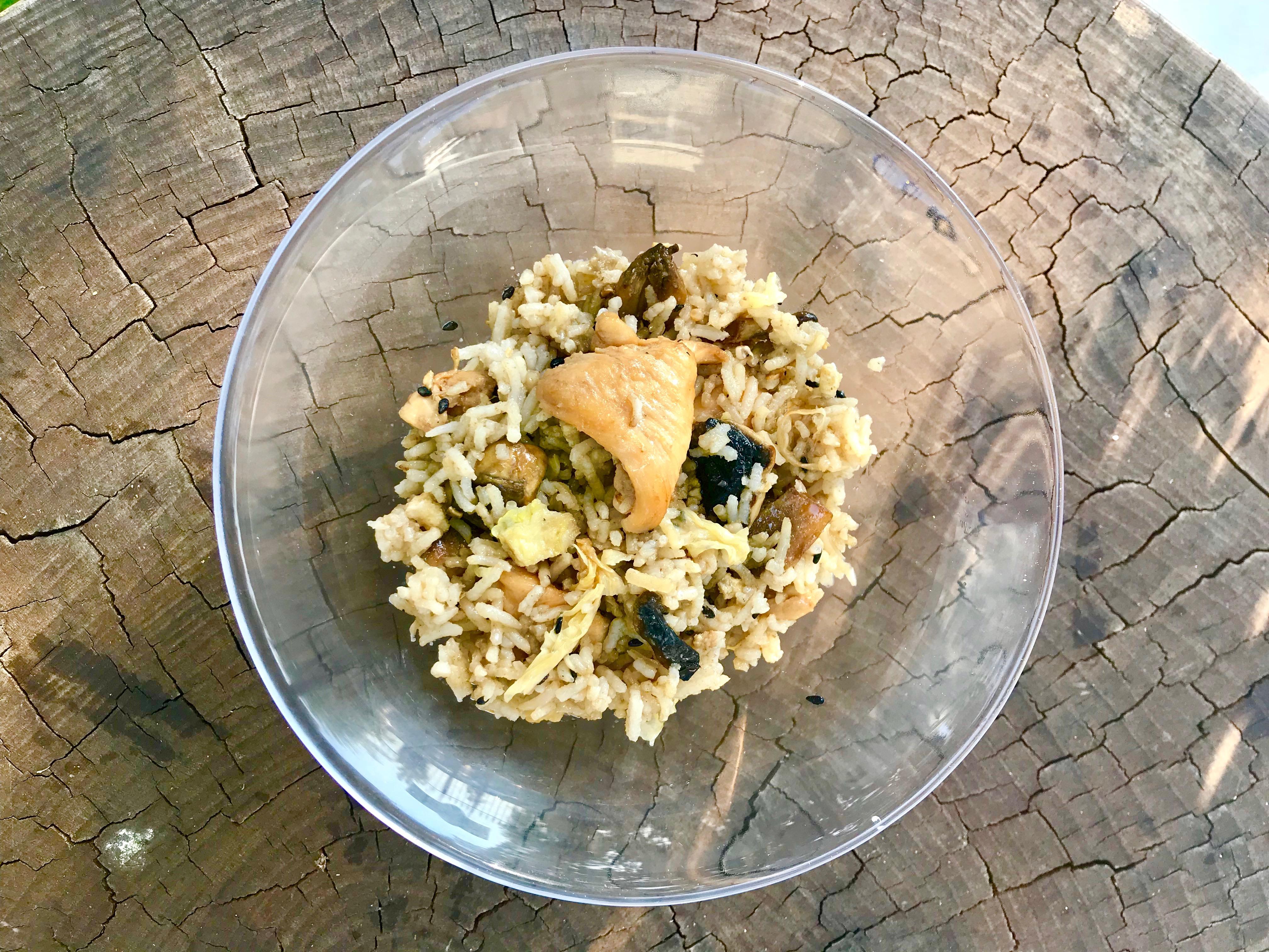 arroz oriental con pollo y setas